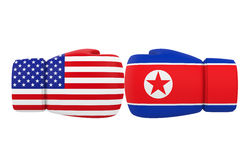 Boxing Gloves with USA and North Korea flags Stock Images