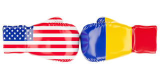 Boxing gloves with USA and Romania flags. 3D rendering. Boxing gloves with USA and Romania flags. 3D Stock Photos