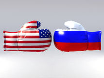 Boxing gloves with Usa and Russia flag Stock Photos