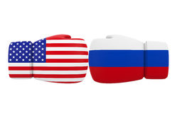 Boxing Gloves with USA and Russia flags Stock Images