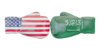 Boxing gloves with USA and Saudi Arabia flags. Governments. Conflict concept, 3D Stock Photography