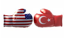 Boxing gloves with Usa and Turkey flag Stock Photography
