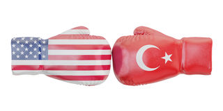 Boxing gloves with USA and Turkey flags. Governments conflict co Stock Image