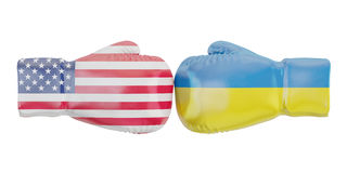 Boxing gloves with USA and Ukraine flags. Governments conflict. Concept, 3D Stock Photo