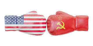 Boxing gloves with USA and USSR flags. Governments conflict conc. Ept Stock Photos