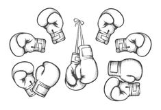 Boxing gloves vector. Boxing gloves. Equipment for fight competition, hanging and protection hand. Vector illustration Stock Photos