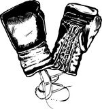 Boxing Gloves vector illustration. Drawn in a traditional pen and ink style royalty free illustration