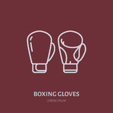 Boxing gloves vector line icon. Box club logo, equipment sign. Sport competition illustration.  Stock Photos
