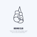 Boxing gloves vector line icon. Box club logo, equipment sign. Sport competition illustration.  Royalty Free Stock Photos