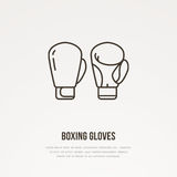Boxing gloves vector line icon. Box club logo, equipment sign. Sport competition illustration.  Royalty Free Stock Photography