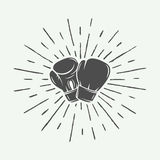 Boxing gloves in vintage style. Monochrome graphic Art. Stock Photos