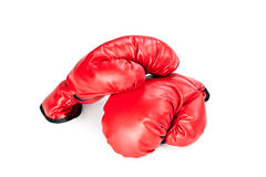 Boxing gloves on white Stock Photos
