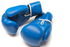 Boxing gloves on a white background. Blue boxing gloves on a white background Royalty Free Stock Image