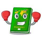 Boxing green passport in a character bag. Vector illustration stock illustration