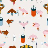 Boxing gym pattern. Hall boxing background and ornament. Boxer t Stock Images