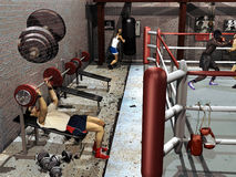 Boxing gymnasium. Several men training in a boxing gymnasium Stock Images