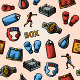 Boxing hand drawn color pattern - gloves, shorts Stock Photography