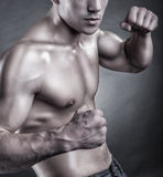 Boxing. Handsome athletic man in boxing stand on a dark background Royalty Free Stock Photos
