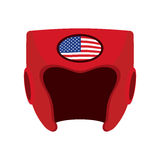 Boxing helmet with the flag of America. Red protective patriotic. Sports equipment. Vector illustration Stock Photo