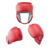 Boxing helmet with gloves Royalty Free Stock Photography