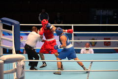 Boxing hit jab and knockout. St. Petersburg, Russia, November 21, 2016 AIBA Youth World Boxing Championship men stock photo