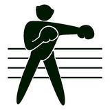 boxing icon. Black figure of an athlet on white background. Person with gloves and helmet on the ring Royalty Free Stock Photography