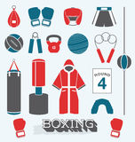 Boxing, icon, , fitness, glove, ring, boxer, muscle, vintage, strong, belt, arm, illustration, fighter, mma, champion, train. Collection of boxing related icons Stock Photography
