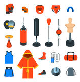 Boxing icons flat vector colorful icons. Boxing icons flat design vector colorful icons. Boxer training equipment symbols. Sport workout tools, protection Stock Photo
