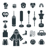 Boxing icons flat vector silhouettes icons. Boxing icons flat design vector silhouettes icons. Boxer training equipment symbols. Sport workout tools, protection Royalty Free Stock Image