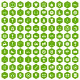 100 boxing icons hexagon green. 100 boxing icons set in green hexagon isolated vector illustration Stock Illustration