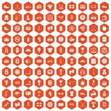 100 boxing icons hexagon orange. 100 boxing icons set in orange hexagon isolated vector illustration Stock Images