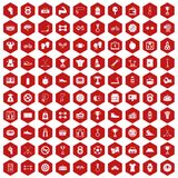 100 boxing icons hexagon red. 100 boxing icons set in red hexagon isolated vector illustration Stock Images