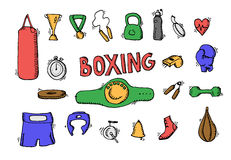 Boxing icons set Royalty Free Stock Image
