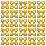 100 boxing icons set gold. 100 boxing icons set in gold circle isolated on white vectr illustration Royalty Free Stock Photo