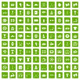 100 boxing icons set grunge green. 100 boxing icons set in grunge style green color isolated on white background vector illustration Royalty Free Illustration