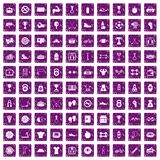 100 boxing icons set grunge purple. 100 boxing icons set in grunge style purple color isolated on white background vector illustration Royalty Free Illustration