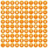 100 boxing icons set orange. 100 boxing icons set in orange circle isolated vector illustration royalty free illustration