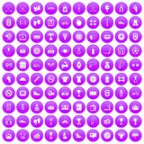 100 boxing icons set purple. 100 boxing icons set in purple circle isolated vector illustration vector illustration