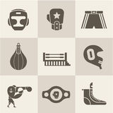 Boxing icons Royalty Free Stock Images