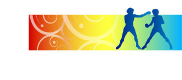 Boxing illustration. Two boxers on colorful background Vector Illustration