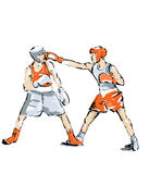 Boxing illustration man practice boxe. Boxing, free throw during a sports competition Royalty Free Stock Photos