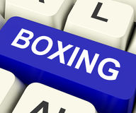 Boxing Key Show Fighting Or Punching. Boxing Key On Keyboard Showing Fighting Punching Or Pugilism Stock Photos