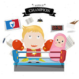Boxing kid character  Stock Photo