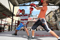 Boxing kids in Havana, Cuba Royalty Free Stock Photography