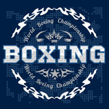 Boxing label and elements in dark background Stock Photos