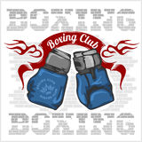 Boxing label and elements in light background Stock Image