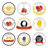 Boxing labels and badges set. Vector Stock Images