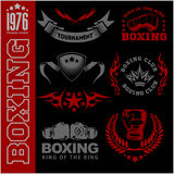 Boxing labels and icons set. Stock Photos