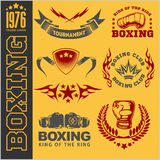 Boxing labels and icons set. Royalty Free Stock Photo