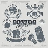 Boxing labels and icons set. Vector illustration. Royalty Free Stock Photography